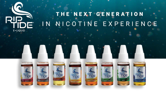 Eight bottles of nicotine liquid under the Rip Tide brand.