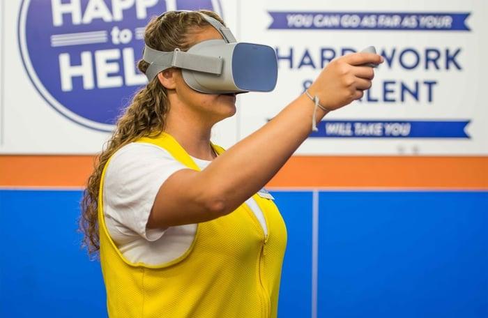 Walmart worker in virtual reality.