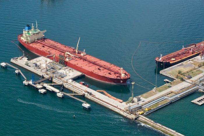 Tankers at a port terminal.