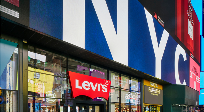 The front of a Levi's store in New York.