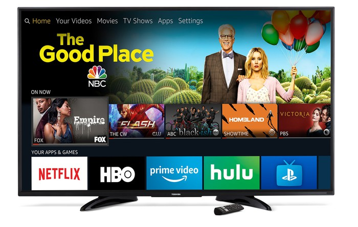 An Amazon Fire TV showing a variety of viewing options.