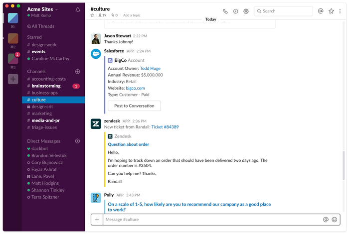 Slack app interface
