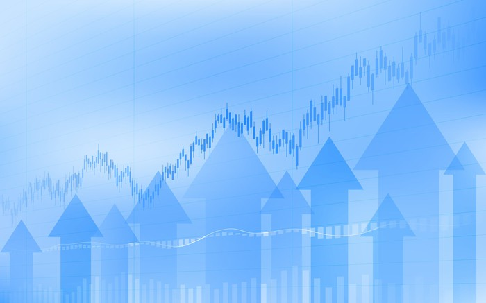 Rising graph and upward arrows in various shades of blue