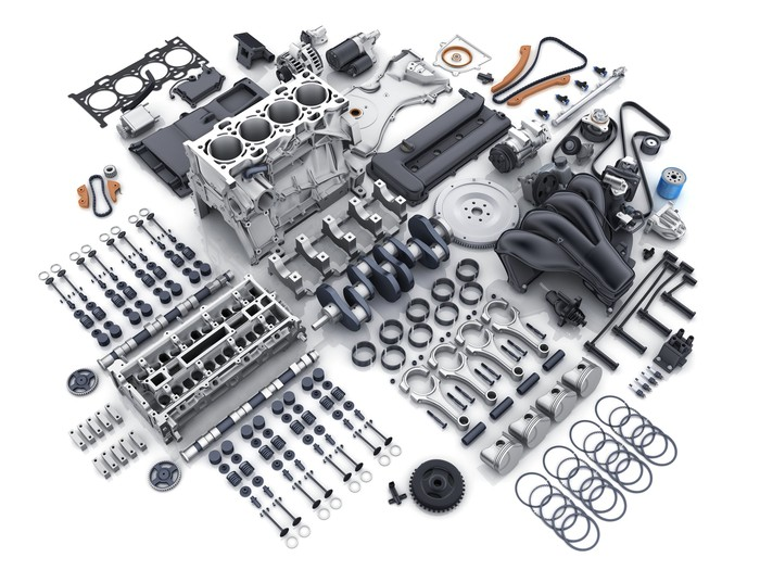 scattered automotive parts