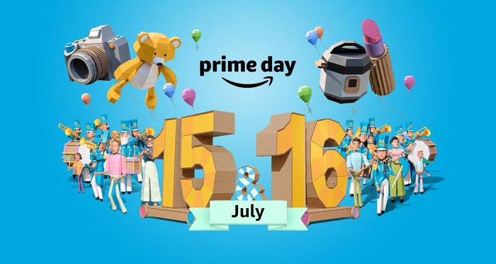 The caption Prime Day July 15 and 16 surrounded by boxy animated images of a marching band, people, and balloons, and a variety of sales items, including a camera, teddy bear, crock pot, and lipstick.