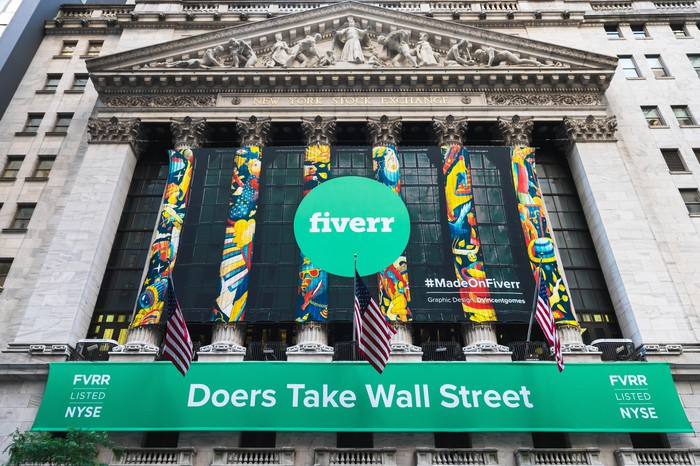 A banner celebrating Fiverr's June IPO at the New York Stock Exchange.