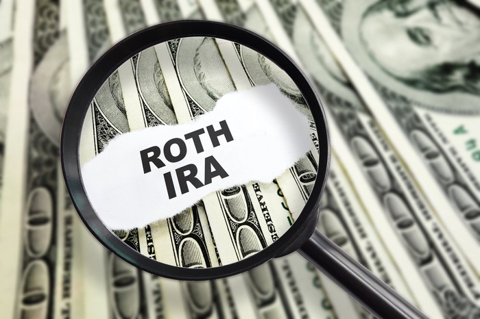 A magnifying glass over the words Roth IRA printed on a scrap of paper, on a bed of hundred-dollar bills.