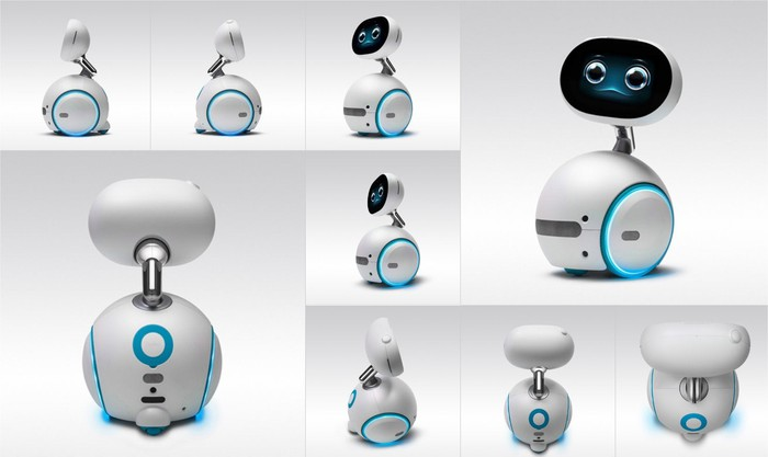 Asus' Zenbo, an oval monitor displaying a face, connected to a spherical body..