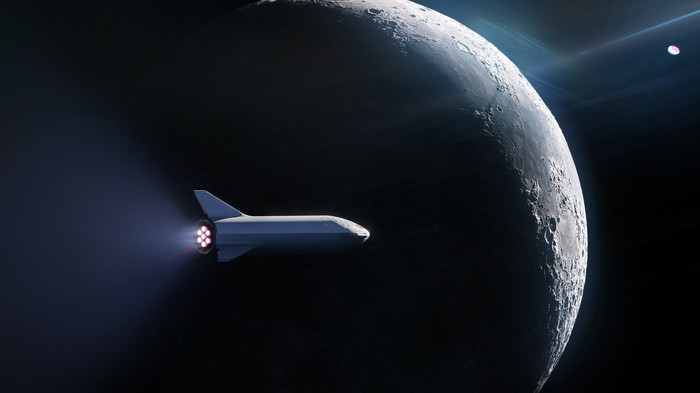 Artist's rendering of a SpaceX Starship against background of the moon.