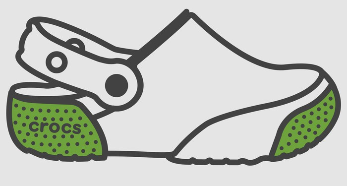 Illustration of a Crocs shoe with green heel and front.
