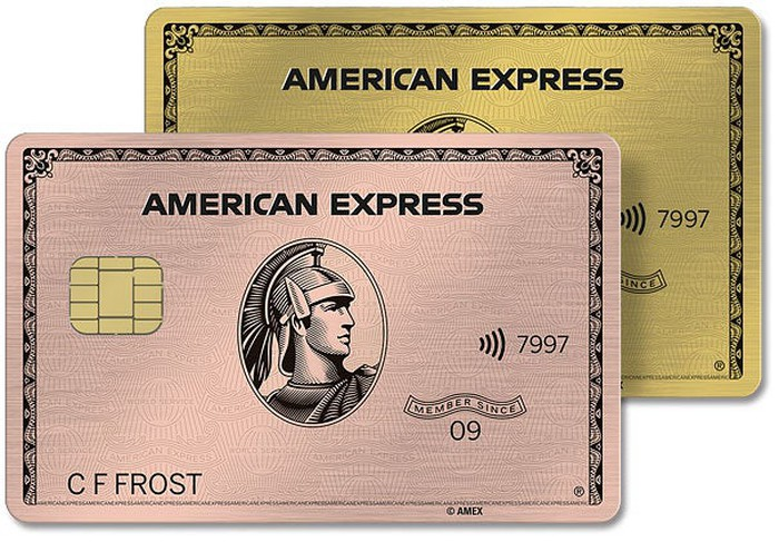 Two American Express cards, in gold and rose gold.