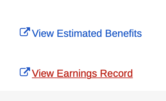 View Earnings Record option on the Social Security website.