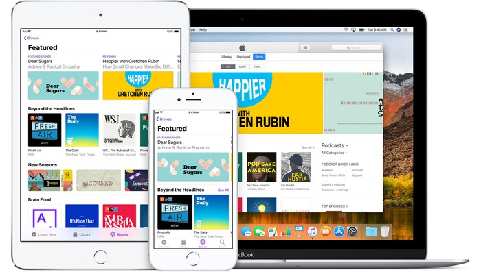The Apple Podcast app on iPad, iPhone, and Macbook.