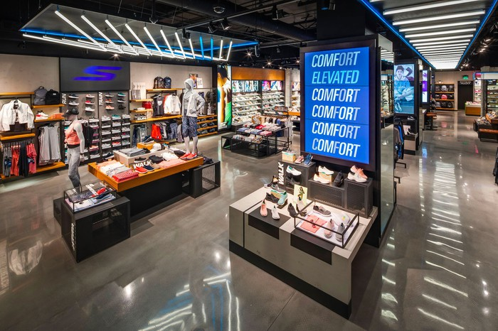 The inside of a Skechers store