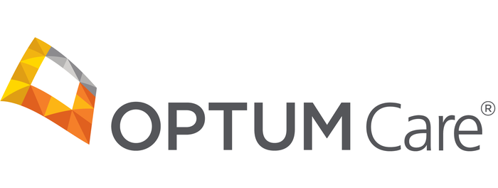 OptumCare logo of stylized 3-d square in yellow, orange, and gray.