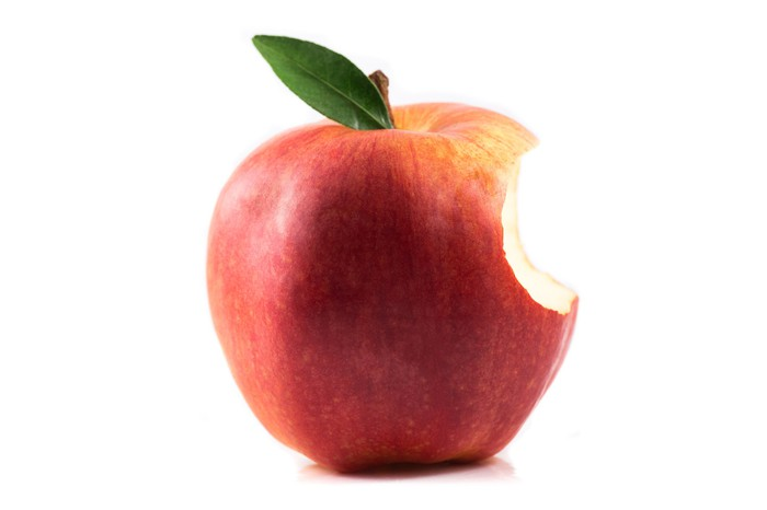 An apple with a bite out of it.