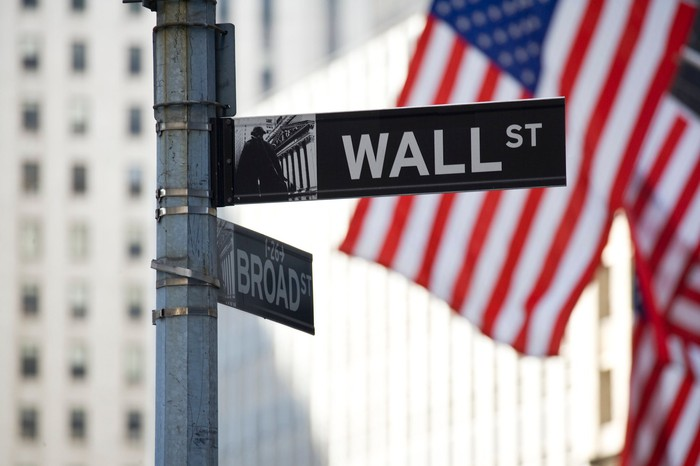 Wall Street sign with American flags in background.