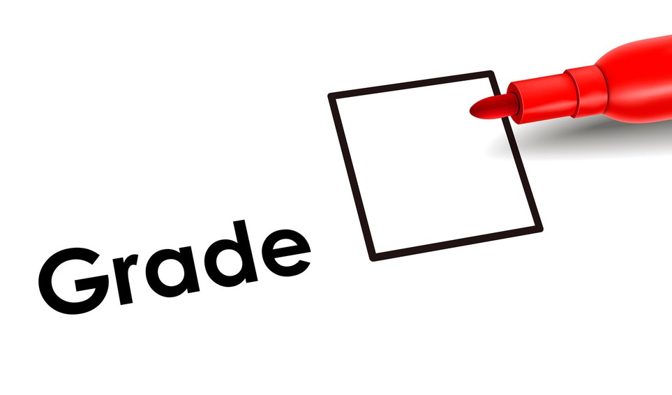 Report card grade checkbox with red marker