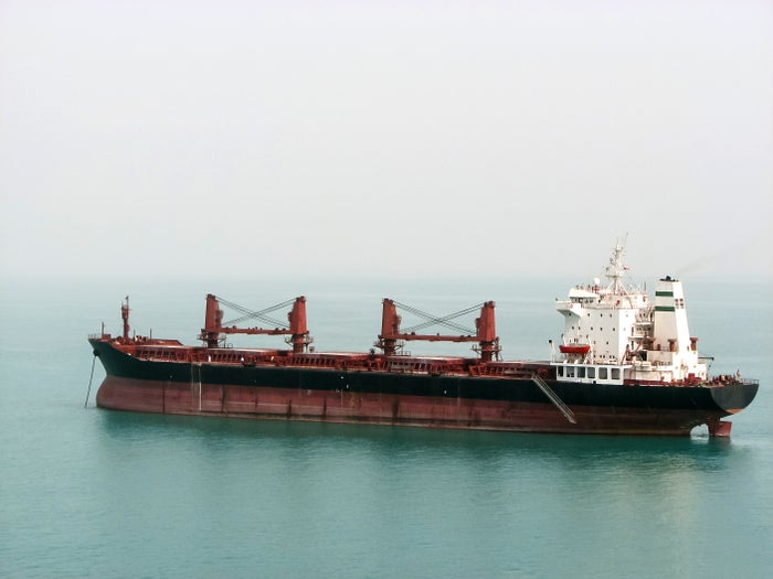 A dry bulk carrier at sea.