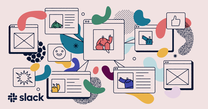Graphics of Slack features available in its collaborative tools.