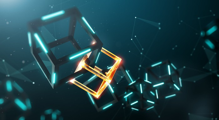 A chain of cube graphics all linked together.