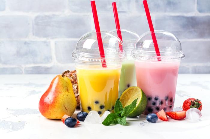Fruit-flavored bubble tea drinks.