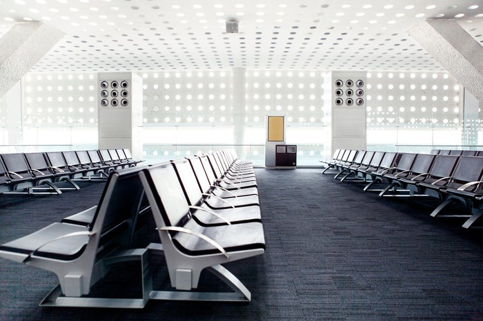 An empty airport terminal.