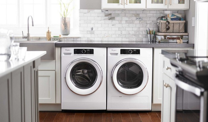 A Whirlpool washer and dryer.