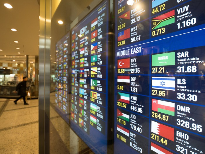 A colorful digital currency board displays exchange rates for international currencies.