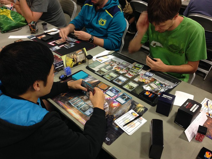 Players at a Magic: The Gathering tournament