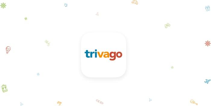 Trivago logo with small colored symbols around it.