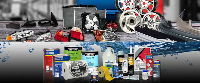 Composite of dozens of auto parts, including wheels and hubcaps, lights, and cleaning and detail products.