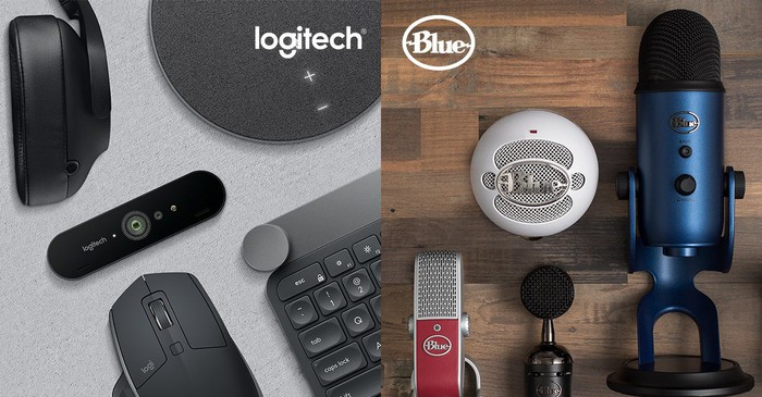 A split screen with a Logitech keyboard, mouse, and other products on one side and Blue Microphone products on the other.
