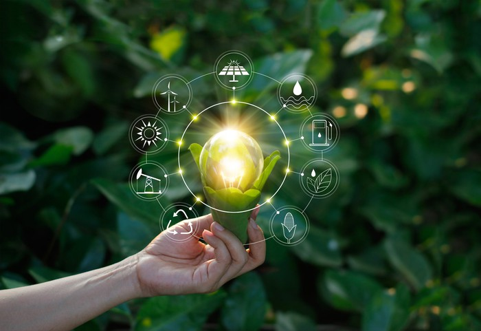 A hand holding a plant with a bright lightbulb in it that's surrounded by icons for energy such as a solar panels and wind turbines.