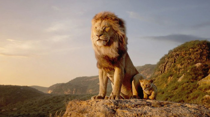 Mufasa and Simba from the 2019 adaptation of The Lion King