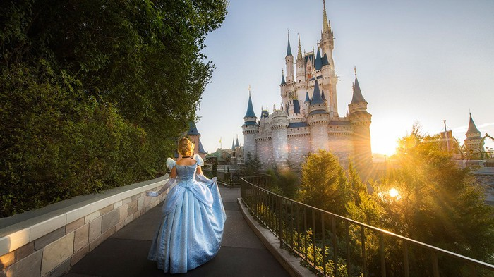 Cinderella walking toward the Magic Kingdom castle as the sun rises.