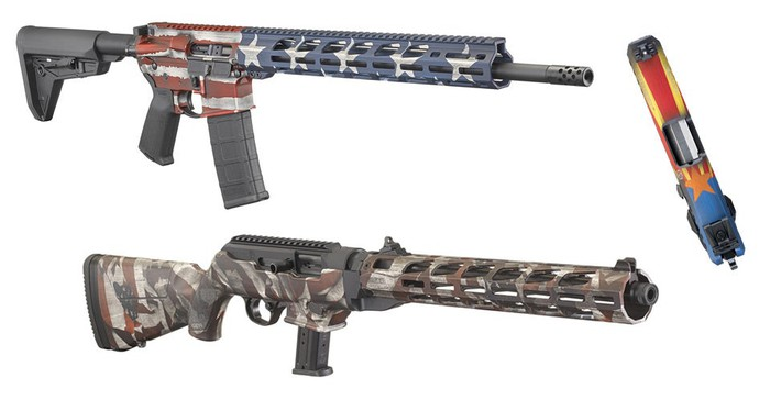 Various guns painted with an American flag finish