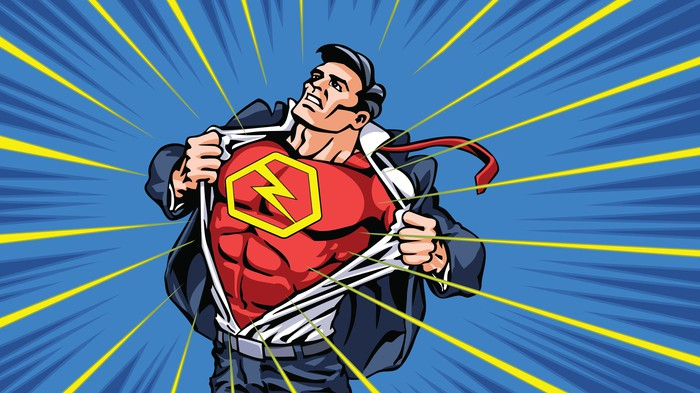 A comic-style illustration of a man tearing off his citizen suit and revealing a red superhero suit underneath with a yellow lightning bolt on his chest.