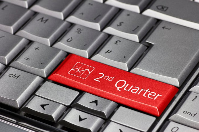 "Close-up of a red key marked ""2nd Quarter"" among silver keys on a computer keyboard."