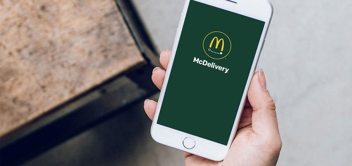 Mobile phone showing McDonald's delivery app