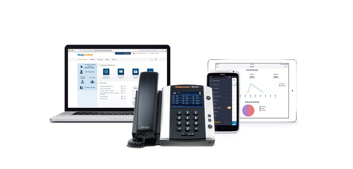 RingCentral running on a laptop, IP phone, mobile device, and tablet.