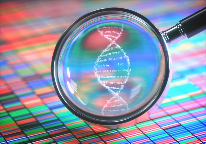 Magnifying glass showing DNA strand on top of color-coded gene sequencing chart.