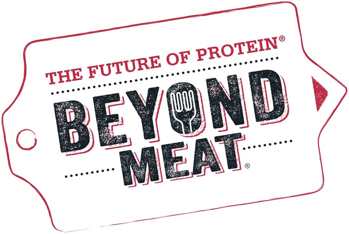 Beyond Meat logo with slogan in black and red.