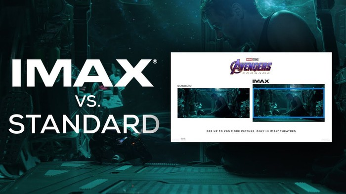 Comparison of screen size and resolution between IMAX and standard movie screens.
