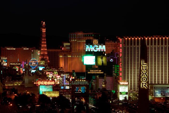 Buildings along the Las Vegas strip at night.