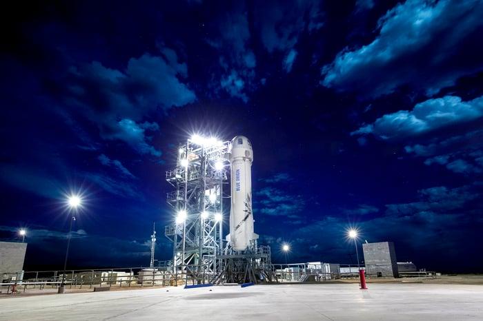 A Blue Origin rocket sitting on a launch pad