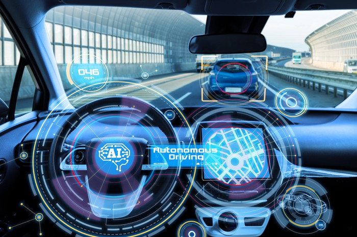 Interior of a driverless vehicle.