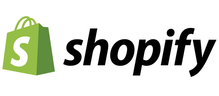Shopify logo with green shopping bag icon with white S.