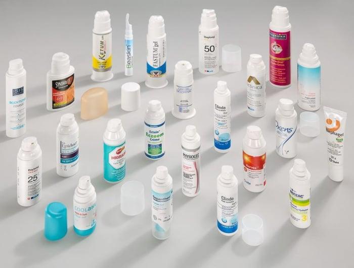 Various plastic dispenser bottles made by AptarGroup.