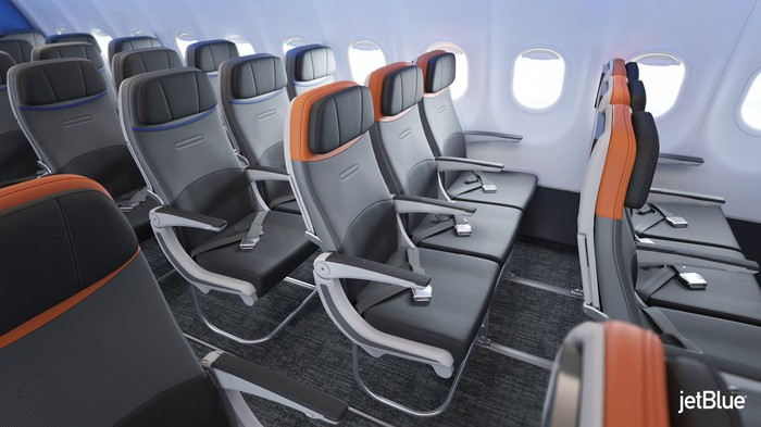 The interior of a renovated JetBlue aircraft